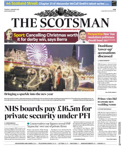 The Scotsman Newspaper Front Page (UK) for 1 January 2019