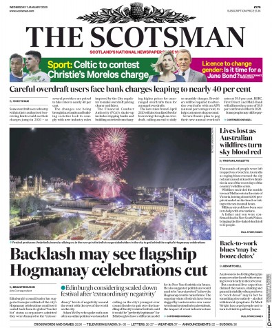 The Scotsman Newspaper Front Page (UK) for 1 January 2020
