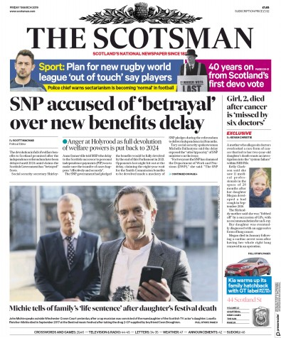 The Scotsman Newspaper Front Page (UK) for 1 March 2019