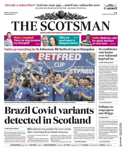 The Scotsman Newspaper Front Page (UK) for 1 March 2021
