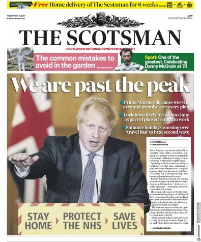 The Scotsman Newspaper Front Page (UK) for 1 May 2020