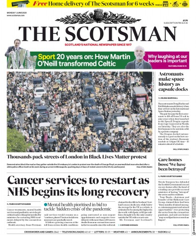 The Scotsman Newspaper Front Page (UK) for 1 June 2020