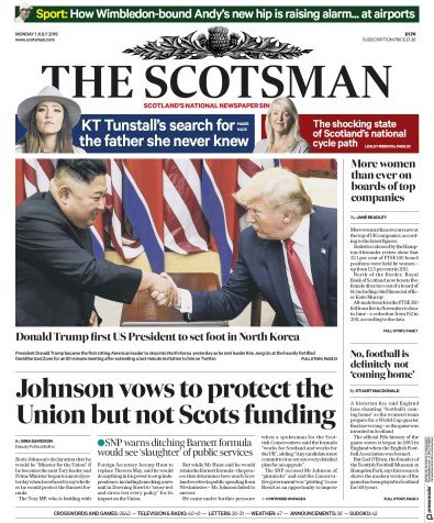 The Scotsman Newspaper Front Page (UK) for 1 July 2019