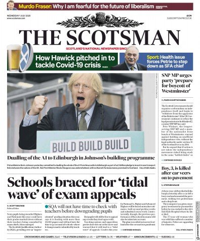 The Scotsman Newspaper Front Page (UK) for 1 July 2020