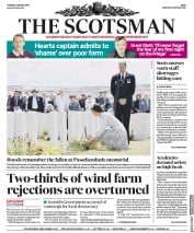The Scotsman (UK) Newspaper Front Page for 1 August 2017