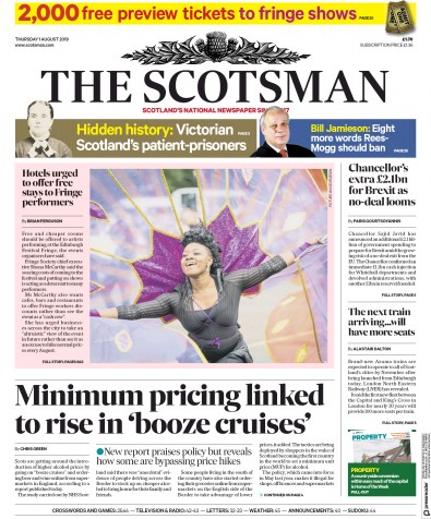 The Scotsman Newspaper Front Page (UK) for 1 August 2019
