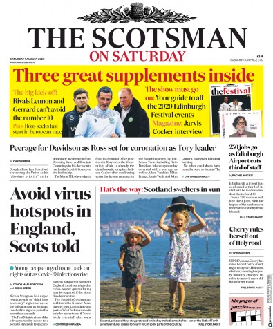 The Scotsman Newspaper Front Page (UK) for 1 August 2020