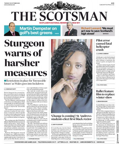 The Scotsman Newspaper Front Page (UK) for 20 October 2020
