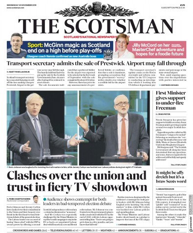 The Scotsman Newspaper Front Page (UK) for 20 November 2019