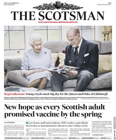 The Scotsman Newspaper Front Page (UK) for 20 November 2020
