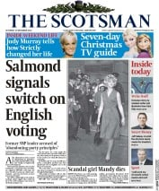 The Scotsman (UK) Newspaper Front Page for 20 December 2014