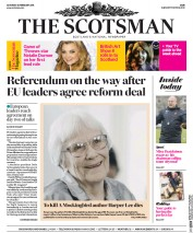 The Scotsman (UK) Newspaper Front Page for 20 February 2016
