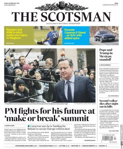 The Scotsman Newspaper Front Page (UK) for 20 February 2016
