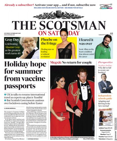 The Scotsman Newspaper Front Page (UK) for 20 February 2021