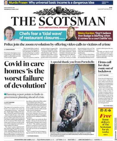 The Scotsman Newspaper Front Page (UK) for 20 May 2020