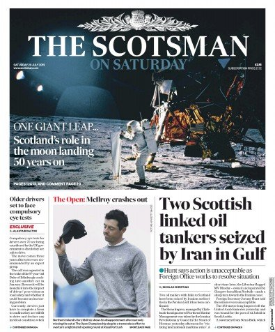 The Scotsman Newspaper Front Page (UK) for 20 July 2019