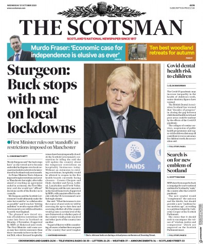 The Scotsman Newspaper Front Page (UK) for 21 October 2020