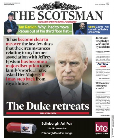 The Scotsman Newspaper Front Page (UK) for 21 November 2019