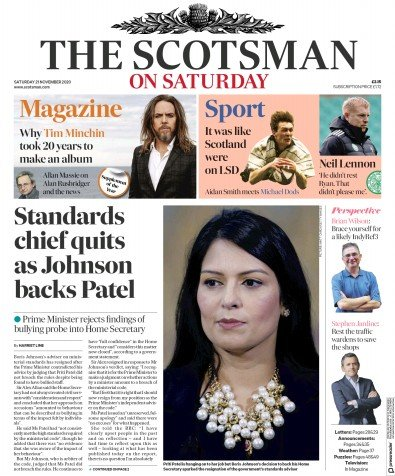 The Scotsman Newspaper Front Page (UK) for 21 November 2020