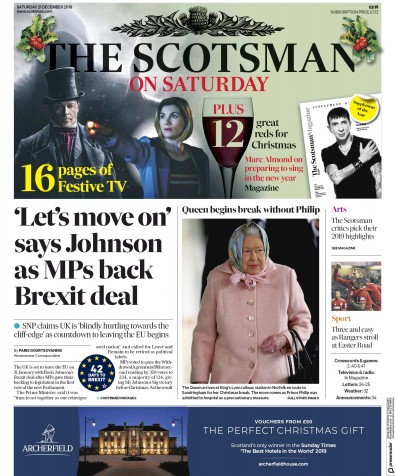The Scotsman Newspaper Front Page (UK) for 21 December 2019