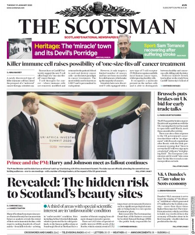 The Scotsman Newspaper Front Page (UK) for 21 January 2020