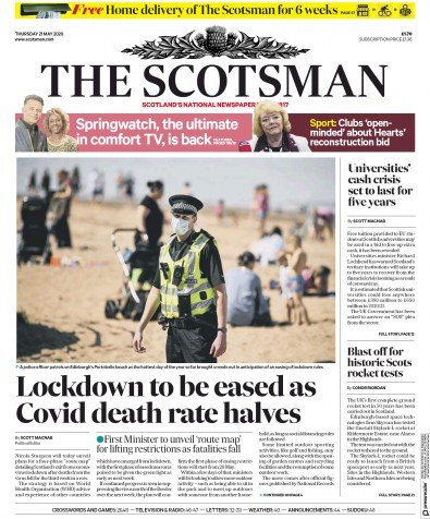 The Scotsman Newspaper Front Page (UK) for 21 May 2020