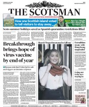 The Scotsman (UK) Newspaper Front Page for 21 July 2020