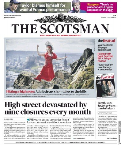 The Scotsman Newspaper Front Page (UK) for 21 August 2019