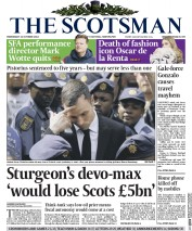 The Scotsman (UK) Newspaper Front Page for 22 October 2014