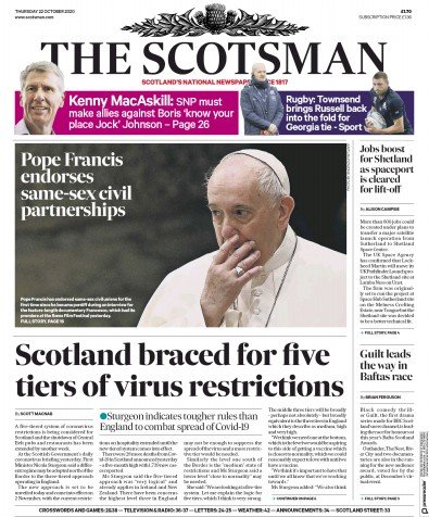 The Scotsman Newspaper Front Page (UK) for 22 October 2020