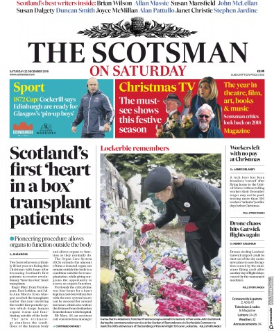 The Scotsman Newspaper Front Page (UK) for 22 December 2018