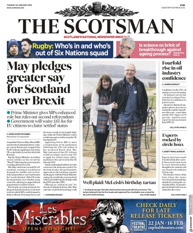 The Scotsman Newspaper Front Page (UK) for 22 January 2019