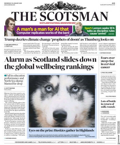 The Scotsman Newspaper Front Page (UK) for 22 January 2020