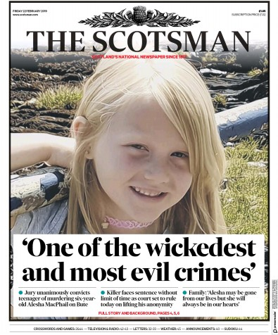 The Scotsman Newspaper Front Page (UK) for 22 February 2019