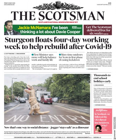 The Scotsman Newspaper Front Page (UK) for 22 May 2020