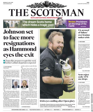 The Scotsman Newspaper Front Page (UK) for 22 July 2019