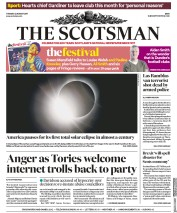 The Scotsman (UK) Newspaper Front Page for 22 August 2017