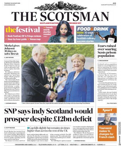 The Scotsman Newspaper Front Page (UK) for 22 August 2019