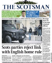 The Scotsman (UK) Newspaper Front Page for 23 October 2014