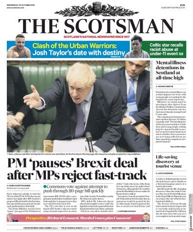 The Scotsman Newspaper Front Page (UK) for 23 October 2019