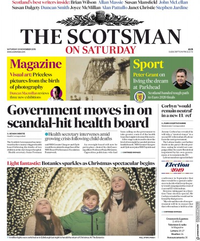 The Scotsman Newspaper Front Page (UK) for 23 November 2019