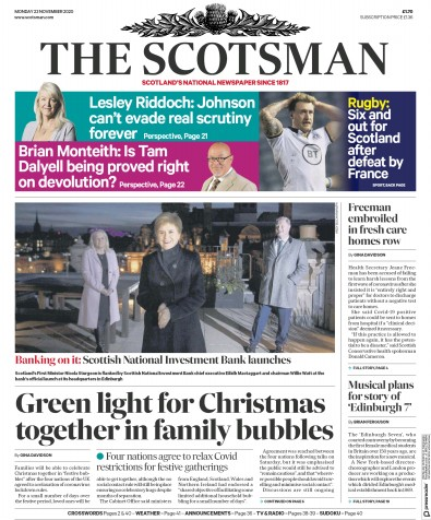 The Scotsman Newspaper Front Page (UK) for 23 November 2020