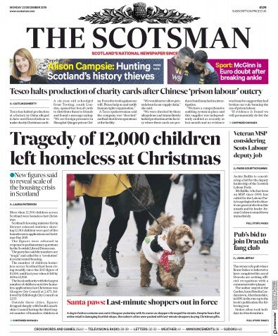 The Scotsman Newspaper Front Page (UK) for 23 December 2019