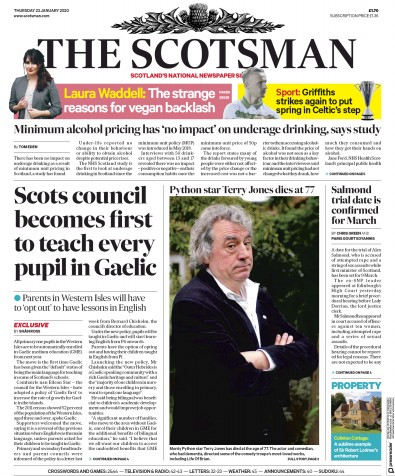 The Scotsman Newspaper Front Page (UK) for 23 January 2020