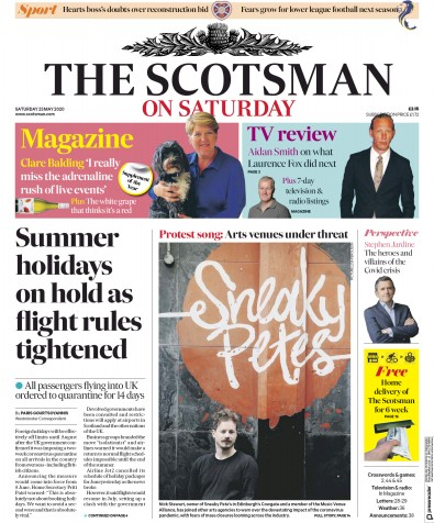 The Scotsman Newspaper Front Page (UK) for 23 May 2020