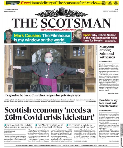 The Scotsman Newspaper Front Page (UK) for 23 June 2020