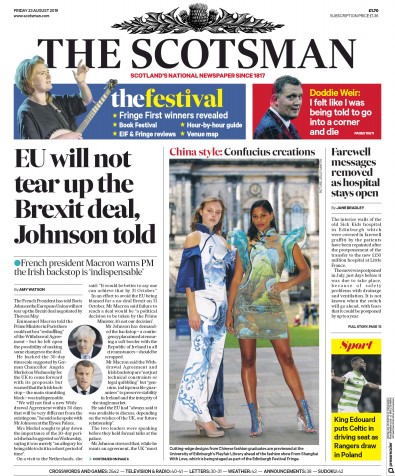 The Scotsman Newspaper Front Page (UK) for 23 August 2019