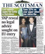 The Scotsman Newspaper Front Page (UK) for 24 October 2012