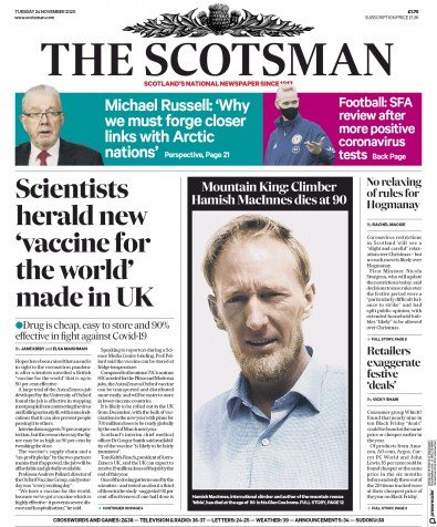 The Scotsman Newspaper Front Page (UK) for 24 November 2020