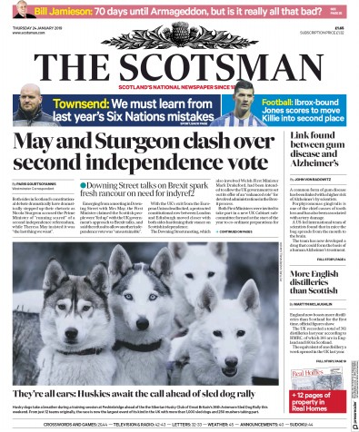 The Scotsman Newspaper Front Page (UK) for 24 January 2019
